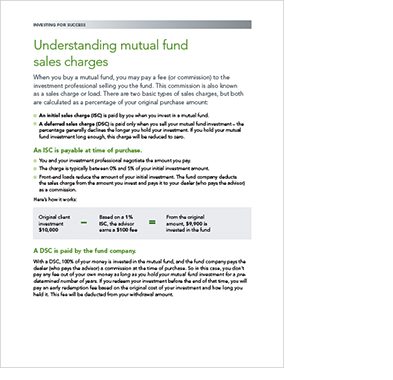 Understanding mutual fund sales charges