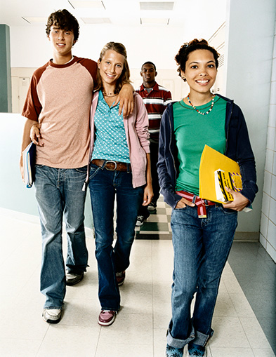 RESP basics - teenagers in walking in school hallway