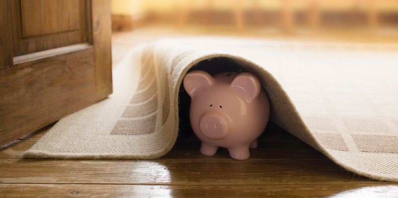 piggy bank under a carpet